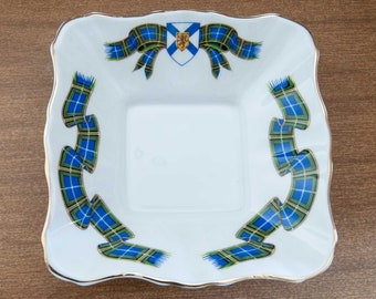 Royal Albert Nova Scotia Tartan Candy/Nuts/Trinket Square Bowl, Bone China, England