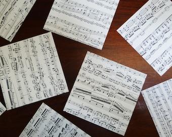40 sheets ORIGAMI paper , genuine random music sheets 7.5x7.5cm VINTAGE