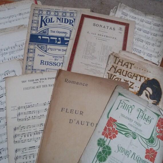 echtes zuf/ällige Musik Blatt 40/Blatt Origami Papier Vintage gemischt Pack