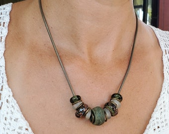 A Very Unique Rustic Green Necklace Using Antique Green Hebron Beads and Handmade Lampwork Beads Specifically Crafted for This Necklace