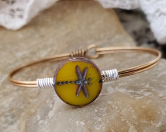 Gold Dragonfly Czech Bead Bangle Bracelet Wire Wrapped With Silver On Gold