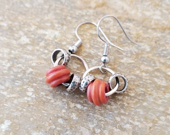 Unique Artisan Simple Orange Lampwork Earrings, A Minimalist Pair Of Earrings Set With Silver