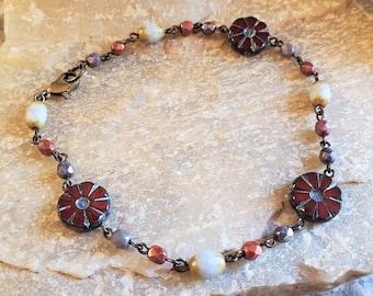 Red Boho Anklet, Womens Flower Anklet, Womens Red Anklet, Red Beaded Anklet, Flower Ankle Bracelet, Red Ankle Bracelet, Summer Beaded Anklet