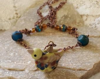 Whimsical Bird Pendant - Lamp Glass Bird