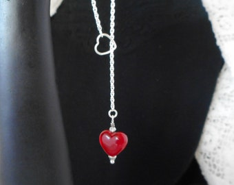 A Little Red Lampwork Glass Heart Set As A Simple Drop Necklace On A Silver Spiral Chain