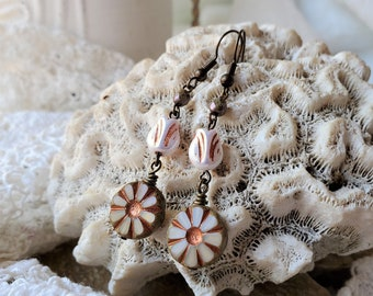 Pink Tulip Flowers  Add to the Look of these Beige Boho Flower Earrings, Tulip Flower Jewelry Using Czech Glass Bead, A 2 Inch Drop Earrings
