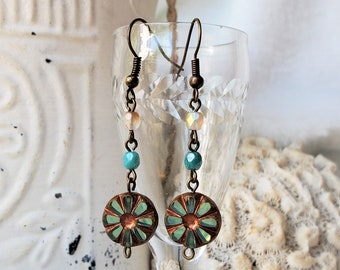 Aqua Green Czech Glass Earrings, A Set of Aqua Green Boho Flower Earrings are 2 Inch Drop Earrings, Czech Bead Earrings Are An Anytime Gift