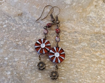 Red Flower Czech Bead 2 Inch Drop Earrings Dropping From Accenting Czech Bead Chain And Antique Brass Tiny Flower And Accents