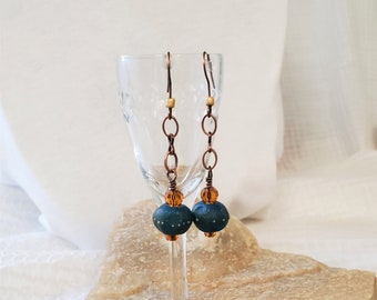OOAK Teal Glass Earrings, A Handmade 2 Inch  Drop Earring Set With Amber Glass And Copper Accents, The Perfect Anytime Gift To Dress Casual