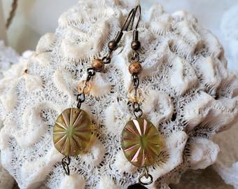 Green Czech Glass Earrings, A Set of Green Boho Flower Earrings are 2 Inch Drop Earrings, Green Czech Bead Earrings Are An Anytime Gift