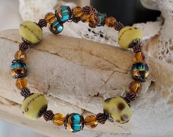 Yellow And Teal Lampwork Beaded Wrap Bracelet, An Elegant Wrap Bracelet With OOAK Lampwork Beads