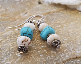 A OOAK Handmade White & Aqua 2 Inch Stone Dangle Earring Set With A Beachy Presence, Elevated With Shepherd Hook Silver Earwires