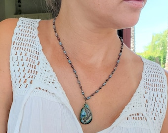 Turquoise Dolphin Necklace, Unique Jewelry For Dolphin Lovers Using A Pottery Dolphin, A Unique Dolphin Gift For Her