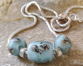 Baby Blue & Hearts Lamp Glass Bead Necklace