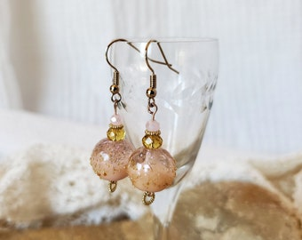 Artisan Pretty Pink Drop Earrings Using Handmade Lampwork Beads, A Unique Set of Lampwork Earrings Finished With Amber Accents And Gold