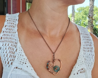 Copper Wire Heart With Attached Wire Wrapped Czech Bead Dragonfly, Necklace With Copper Rolo Link Chain