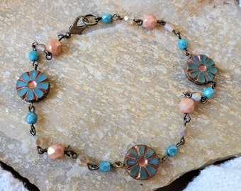 Get Ready For Summer With A Flower Beaded Anklet, These Beaded Ankle Bracelets Are Handmade Anklets, A Nice Neutral & Green Beaded Anklet