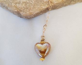 Heart of Gold Lamp Glass Pendant