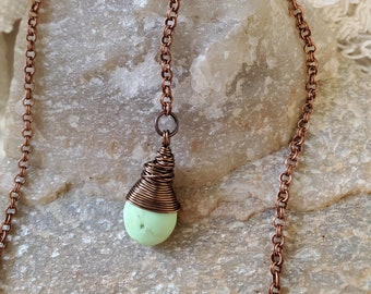 Green Stone Drop Bead Necklace