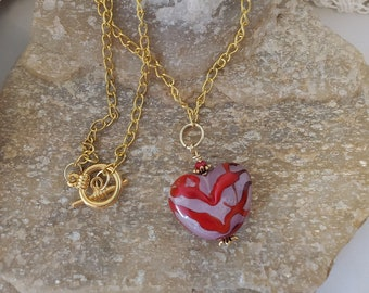 Red Abstract Lampwork Glass Heart Necklace Set On A 20 Inch Gold Plated Chain