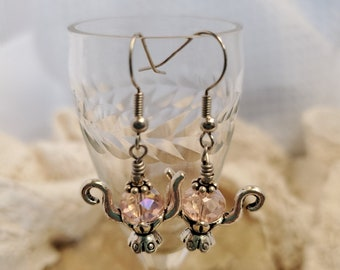 Time For Tea Pink Crystal Earrings