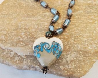 Lampwork Glass Aqua Heart Necklace, An Ocean Wave Heart Beautifully Set On A Blue Aqua Czech Bead Glass Pearl Chain