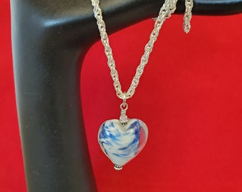 Blue Glass Heart Necklace / Pendant Set On A 20 Inch Silver Rope Chain, A Pretty Heart Gift For Her