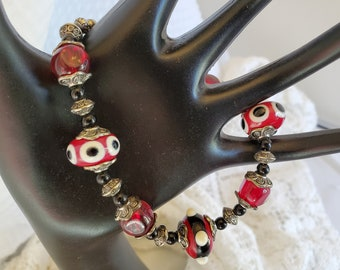 Black And Red Lampwork Glass Bracelet, A One Of A Kind Gift For Her