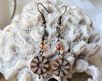 Beige Boho Flower Earrings, A Set of Cream Flower Earrings, Pretty Czech Glass Bead Earrings Are 2 Inch Drop Earrings, A great Anytime Gift