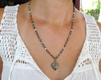 Czech Beaded Pressed Glass Aqua Heart 20 Inch Necklace With Quality Czech Bead Accenting Chain