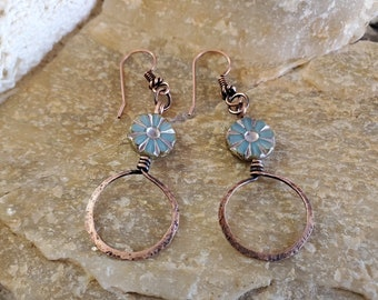 OOAK Handmade Copper & Light Blue Flower Earrings Using Blue Czech Bead Flowers
