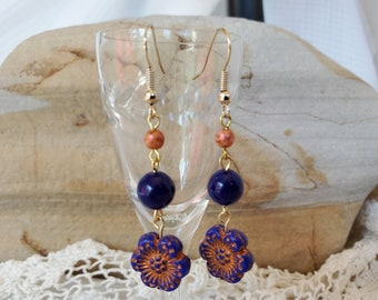 Czech Bead Blue With Copper Wash Rose Flower Earrings, Blue Rose Drops 2 Inches From Czech Bead Chain Links in Matching Colors