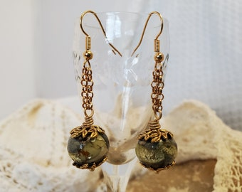 Gold Nuggets Lamp Glass Earrings