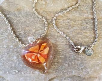"Orange Lampwork Flower Heart Necklace Set On 22"" Serpentine Silver Chain,"