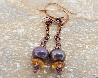 Artisan Plum Lampwork Earrings, A OOAK Simple Plum Purple Drop 2 Inch Earring Set With Copper & Amber Accents, The Perfect Anytime Gift