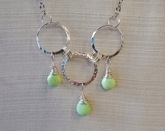 Wire Wrap Chartreuse Tear Drops Beaded Necklace