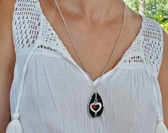 Heart Diffuser Necklace, Lava Rock Necklace, Black Lava Stone Necklace, Essential Oil Diffuser Necklace, EO Necklace, Black Lava Pendant