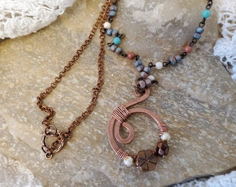 Czech Bead Copper Wire Forged and Wrapped Flower Pendant, Set With Copper Chain and Multi Color Czech Chain Link