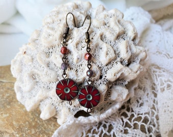 Red Czech Glass Earrings, A Set of Red Boho Flower Earrings are 2 Inch Drop Earrings, Red Czech Bead Earrings Are An Anytime Gift