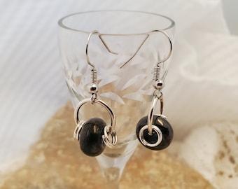Artisan OOAK Black Lampwork Earrings Set With Silver Accents, A Unique Simple Minimalist Set of Lampwork Glass Earrings
