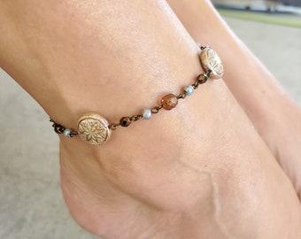 Colorful Anklet, Flower Anklet, Star Ankle Bracelet, Beach Ankle Bracelet, Cute Ankle Bracelet, Flower Anklet Bracelet, Brass Beaded Anklet