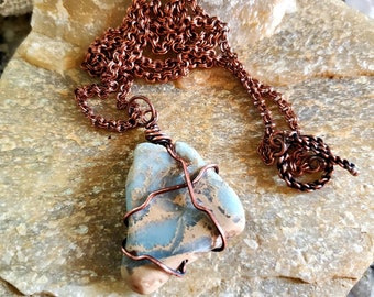 Very Unique, Snake Skin Jasper Stone, Copper Patina Wire Wrap Pendant Set With Copper Double Link Rolo Chain