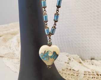 Lampwork Glass Aqua Heart Necklace, An Ocean Wave Heart Beautifully Set On A Blue Aqua Czech Bead Glass Pearl Chain