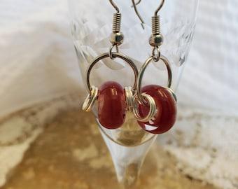 Red Lampwork Earrings, Simple Red Earrings, Artisan Red Earrings, Lampwork Bead Earrings, OOAK Red Earrings, Minimalist Lampwork Earrings