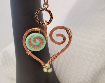 Copper Wire Shaped Heart and Wire Wrapped Czech Bead Necklace With Accenting Premium Multi-Color Czech Bead Chain