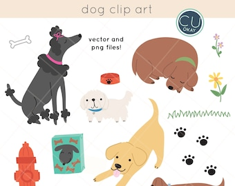 Dog Vector Clip Art Graphics  - Hand-Drawn Digital Illustrations- Commercial Use Royalty Free - instant download