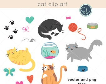 Cat Vector Clip Art Graphics  - Hand-Drawn Digital Illustrations- Commercial Use Royalty Free - instant download
