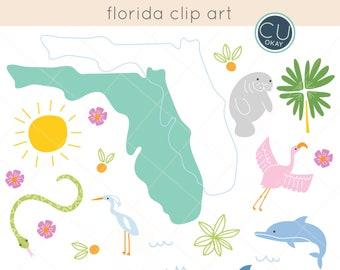 Florida Tropical Clip Art Graphics  - Hand-Drawn Digital Illustrations- Commercial Use Royalty Free - instant download