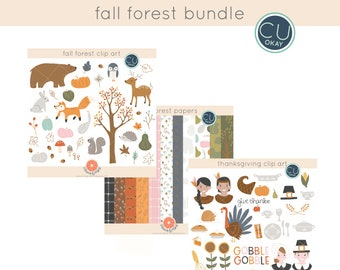 Fall Woodland Forest Digital Papers and Clip Art Bundle- Hand-Drawn Digital Illustrations- Commercial Use Royalty Free - instant download