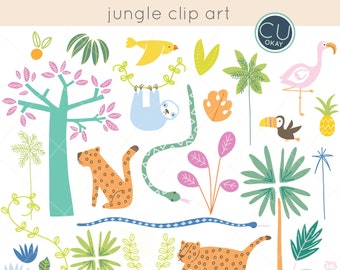 Jungle Animal Tropical Clip Art Graphics  - Hand-Drawn Digital Illustrations- Commercial Use Royalty Free - instant download